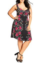 City Chic Plus Size Women's Tapestry Print Fit And Flare Dress