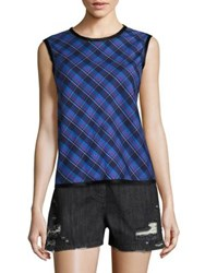 Public School Dalya Abia Plaid Tank Top Blue Peacoat