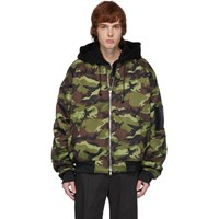 Juun.J Black And Green Symmetry Camo Bomber Jacket