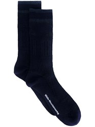 White Mountaineering Striped Ankle Socks Blue