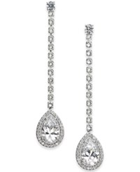 Danori Silver Tone Teardrop Crystal Linear Drop Earrings Created For Macy's Rhodium