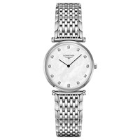 Longines L45124876 Women's La Grande Classique Diamond Bracelet Strap Watch Silver Mother Of Pearl