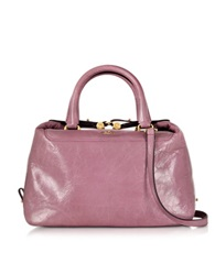 Hogan Leather Satchel Bag W Shoulder Strap Pink