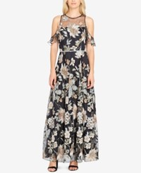 Tahari By Arthur S. Levine Asl Embroidered Cold Shoulder Gown Black Sage