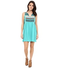 Rock And Roll Cowgirl Sleeveless Dress D4 6733 Teal Women's Dress Blue