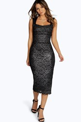 Boohoo Metallic Scallop Lace Sweetheart Midi Dress Silver