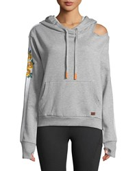 Peace Love World Gaby Graphic Pullover Hoodie Gray