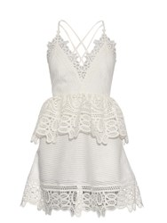 Self Portrait Lace Peplum Open Back Dress White