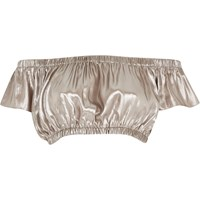 River Island Womens Silver Ruched Bardot Crop Top