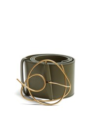 Roksanda Ilincic Twisted Buckle Leather Belt Green