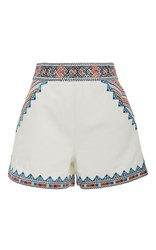 Talitha Zoya Embroidered Shorts White
