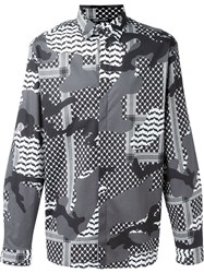Neil Barrett Patterned Camouflage Shirt Black