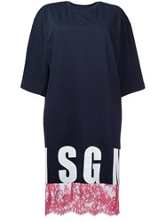 Msgm Lace Detail T Shirt Dress Women Cotton Xs Blue