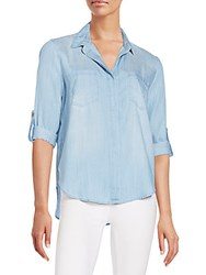 Saks Fifth Avenue Red Riley Chambray Hi Lo Shirt Marina