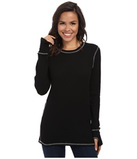Allen Allen L S Thumbhole Tee Thermal Crew Black Women's Long Sleeve Pullover