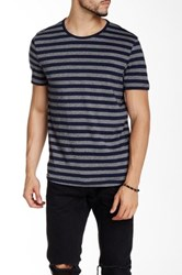 Kenneth Cole Marled Stripe Crew Neck Tee Blue