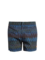 Missoni Striped Chevron Print Swim Shorts Blue Multi