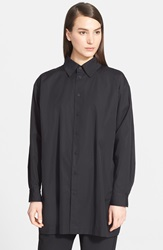 Eskandar Slim A Line Cotton Poplin Shirt Black