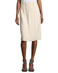 Brunello Cucinelli Silk Blend Pleated Knee Length Skirt Light Rose