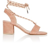 Gianvito Rossi Women's Ankle Tie Suede Sandals Pink