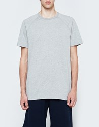 Reigning Champ Ss Raglan Tee Mesh Jersey In Heather Grey