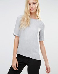 Y.A.S Sina Ruffle Sleeve Top Grey