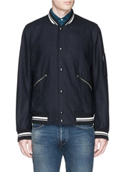 Paul Smith Flannel Bomber Jacket Blue