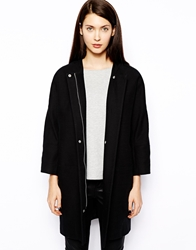 Whistles Amelie Clean Coat With Bracelet Length Sleeve Black