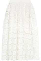 Maje Jardin Embroidered Tulle Midi Skirt White