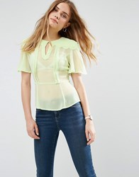 Asos Sheer Tea Blouse With Scallop Detail Green