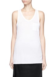 Alexander Wang Classic Scoop Neck Pocket Tank Top White