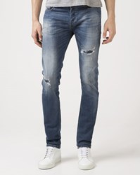 Diesel Faded Blue Skinny Distressed Sleenker Dna Jeans