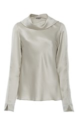 Maiyet Cowl Neck Silk Top Silver