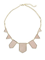 House Of Harlow Immediates Classic Leather Station Necklace Gold Pink