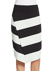 A.L.C. Campbell Striped Surplice Pencil Skirt Black Mint