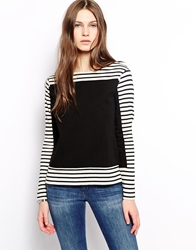 Mih Jeans Striped Boat Neck Crew Sweatshirt With Denim Panel Multi