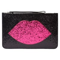 Lulu Guinness Glitter Lip Grace Clutch Bag Black Hot Pink