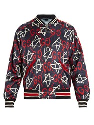 Guccighost Print Satin Bomber Jacket Navy Multi
