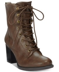 American Rag Laina Block Heel Combat Booties Only At Macy's Women's Shoes Brown