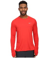 Nike Dri Fit Miler L S Shirt University Red Reflective Silver Men's Workout