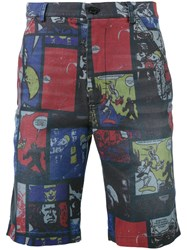 Daniele Alessandrini Comic Strip Shorts Men Cotton Polyester Spandex Elastane 50 Blue