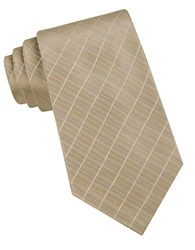 Calvin Klein Classic Fit Etched Windowpane Plaid Silk Tie Taupe