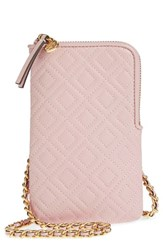 Tory Burch Fleming Lambskin Leather Phone Crossbody Bag Pink Shell Pink