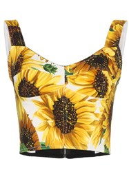 Dolce And Gabbana Sunflower Print Bustier Top Yellow