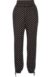 Tory Burch Fin Crinkled Printed Georgette Tapered Pants Black