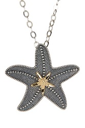 Dani G Jewelry Sterling Silver And 14K Gold Starfish Pendant Necklace
