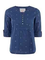 Brakeburn Anchors Popover Blouse 34 Sleeves Blue