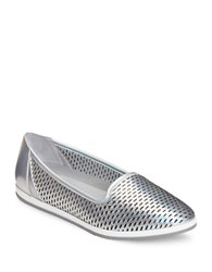 Aerosoles Smart Move Perforated Leather Slip On Sneakers Silver