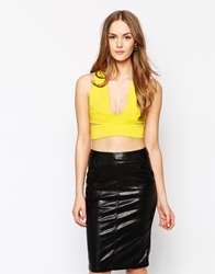 Oh My Love Plunge Neck Crop Top Yellow