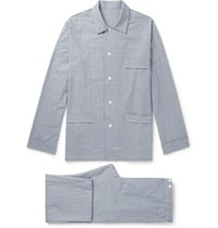 Anderson And Sheppard Prince Of Wales Checked Brushed Cotton Twill Pyjama Set Blue